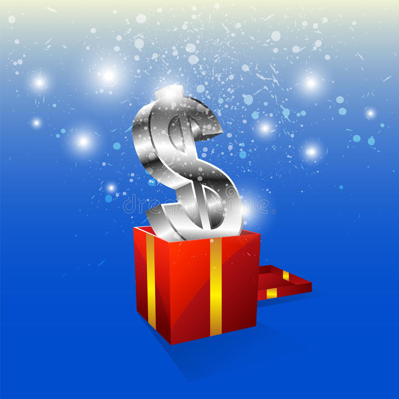Money icon with gift box stock illustration