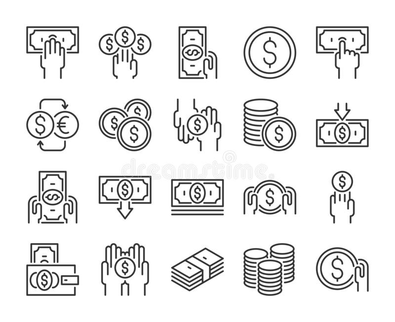 Money icon. Money and finance line icons set. Editable stroke. Pixel Perfect. Money icon. Money and finance line icons set. Editable stroke. Pixel Perfect royalty free illustration