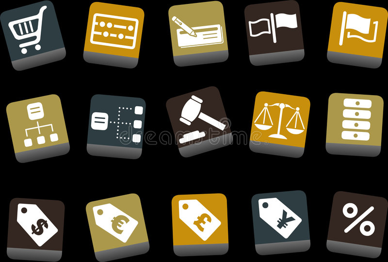 Money icon set. Vector icons pack - Yellow-Brown-Blue Series, money collection royalty free illustration