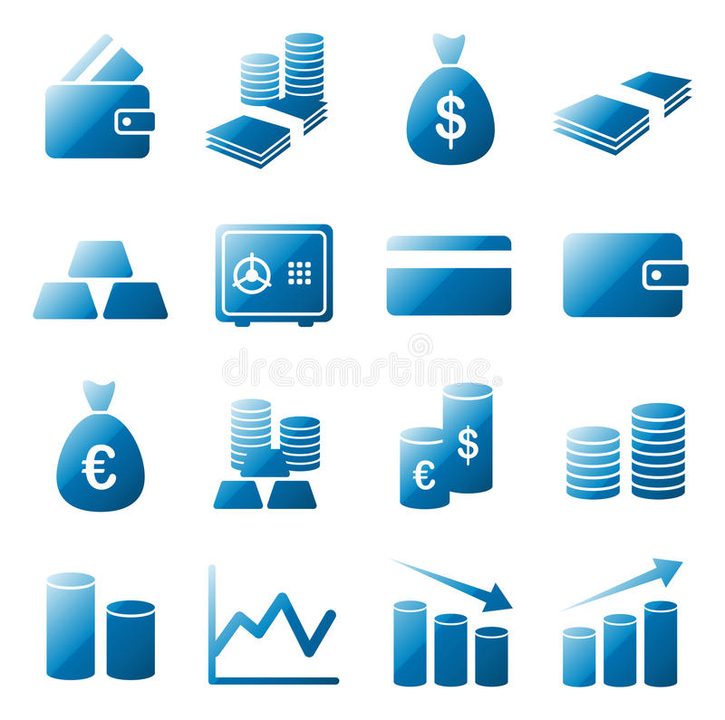 Money icon set. Collection of 16 vector isolated money and bank elements in blue glossy design on white background. Ideal for company logo, icon, illustration vector illustration