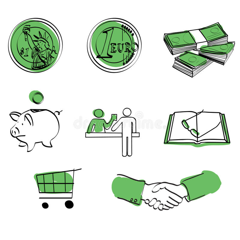 Money icon set vector. Earning, saving and spending money hand draw icon set + vector eps file