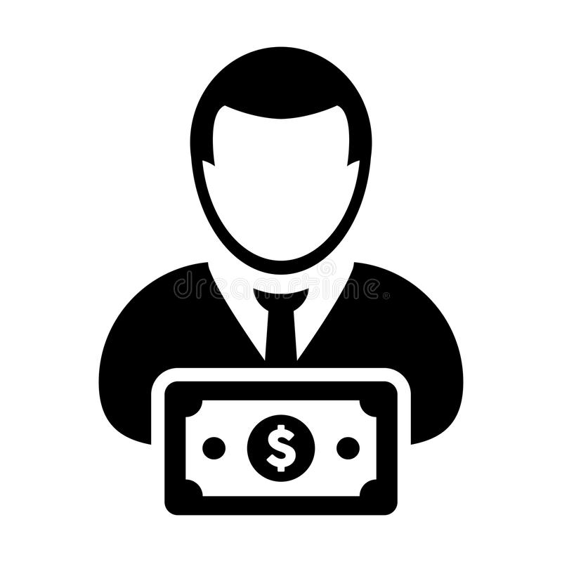 Money Icon Vector Male User Person Profile Avatar With Dollar Sign