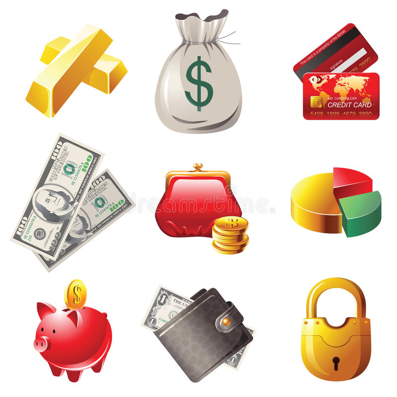 Money icons. 9 highly detailed money icons