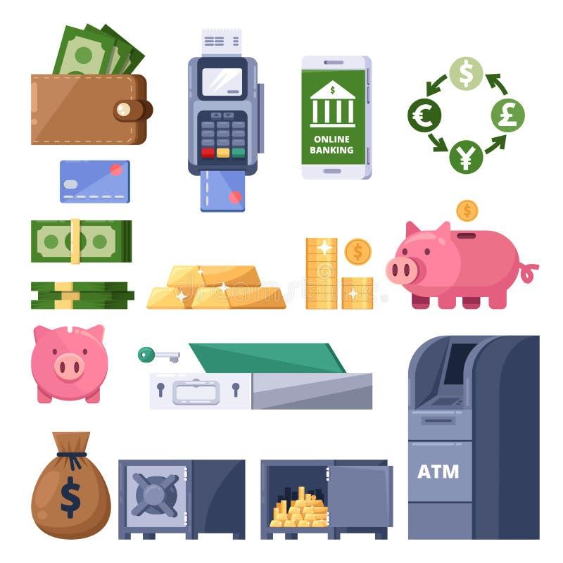 Money icons set. Finance, banking, investment and commerce symbol. ATM, terminal, dollars, piggy bank illustration. royalty free illustration