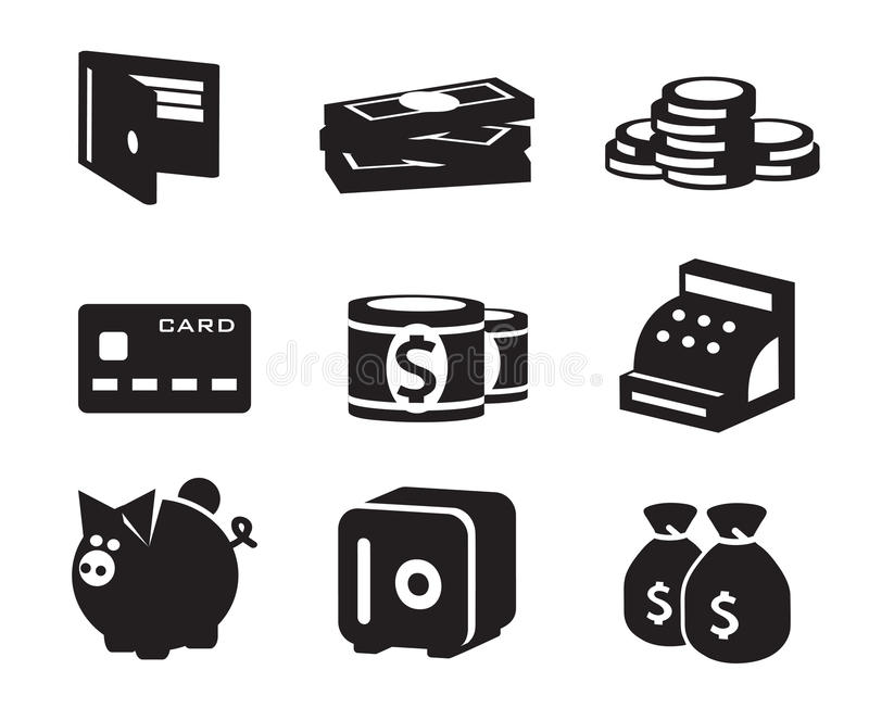 Money icons set vector illustration