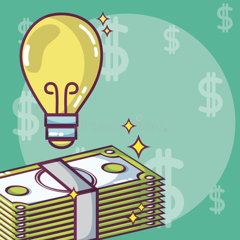 Money and ideas concept stock illustration
