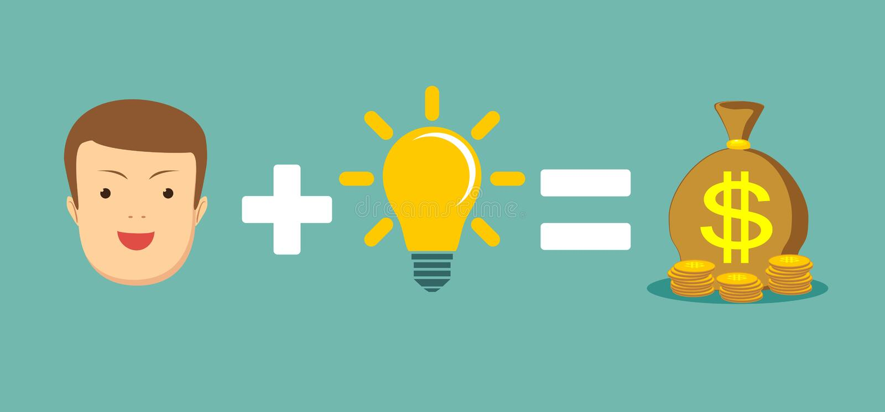Man plus good idea equal money. Money and ideas make you happy and rich. Man plus brain equal money. Stock flat vector illustration stock illustration