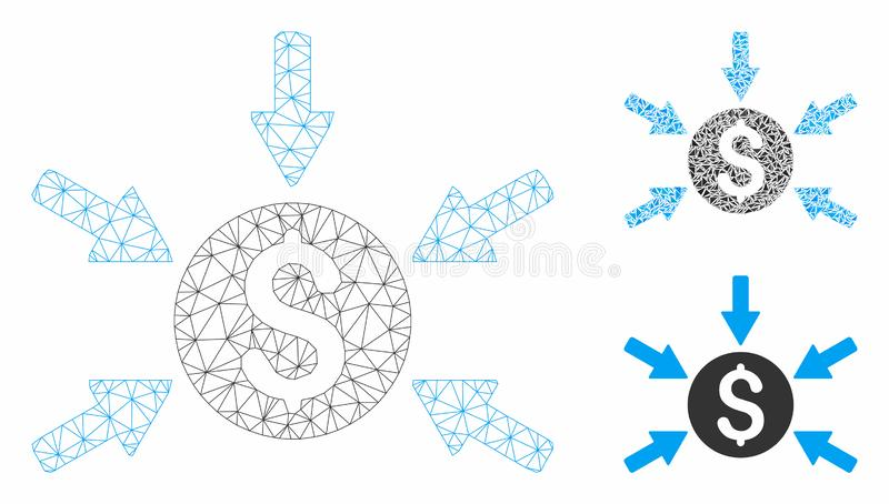 Money Income Vector Mesh Carcass Model and Triangle Mosaic Icon. Mesh money income model with triangle mosaic icon. Wire carcass polygonal network of money stock illustration