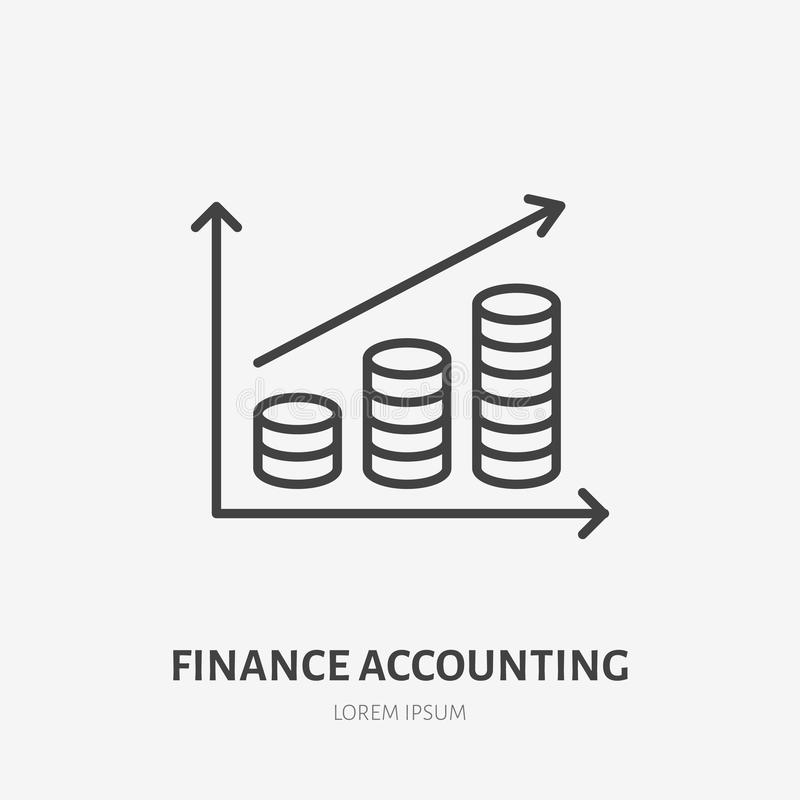 Money infographic flat line icon. Accounting diagram sign. Thin linear logo for legal financial services, accountancy.  vector illustration