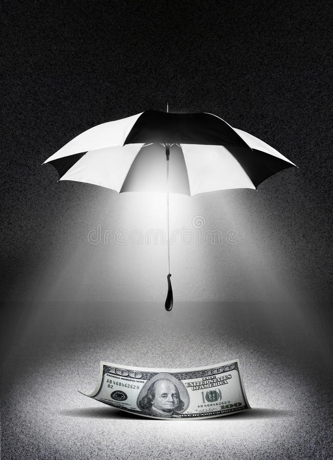 Money insurance. A black and white umbrella shields and covers a one hundred dollar United States bill. Concept for insurance or guarantee for you money vector illustration