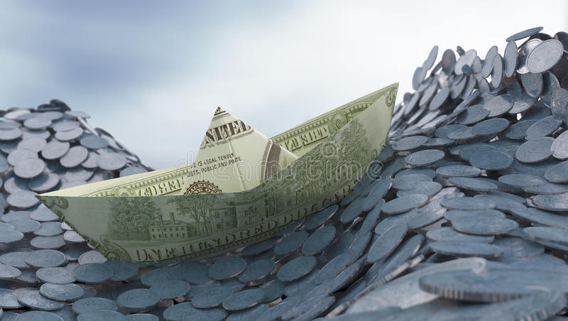 Money and investment concep. T - Dollar paper ship on a coin ocean royalty free stock photography