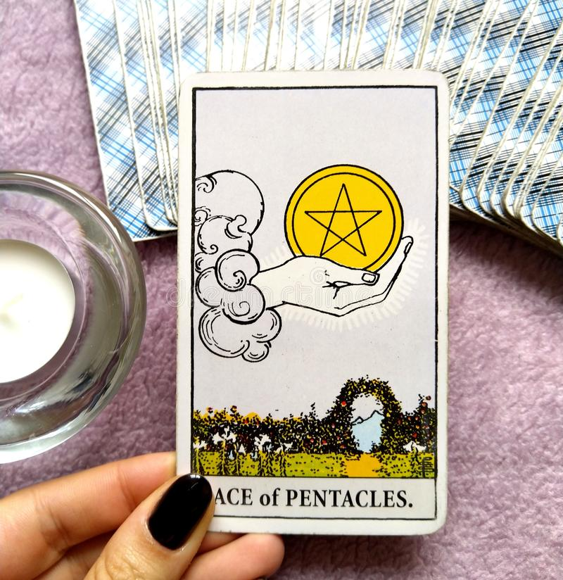 Ace of Pentacles Tarot Card Money Investments Saving Abundance Prosperity. Money Investments Saving Abundance Prosperity Health New Business New Job Windfall stock photo