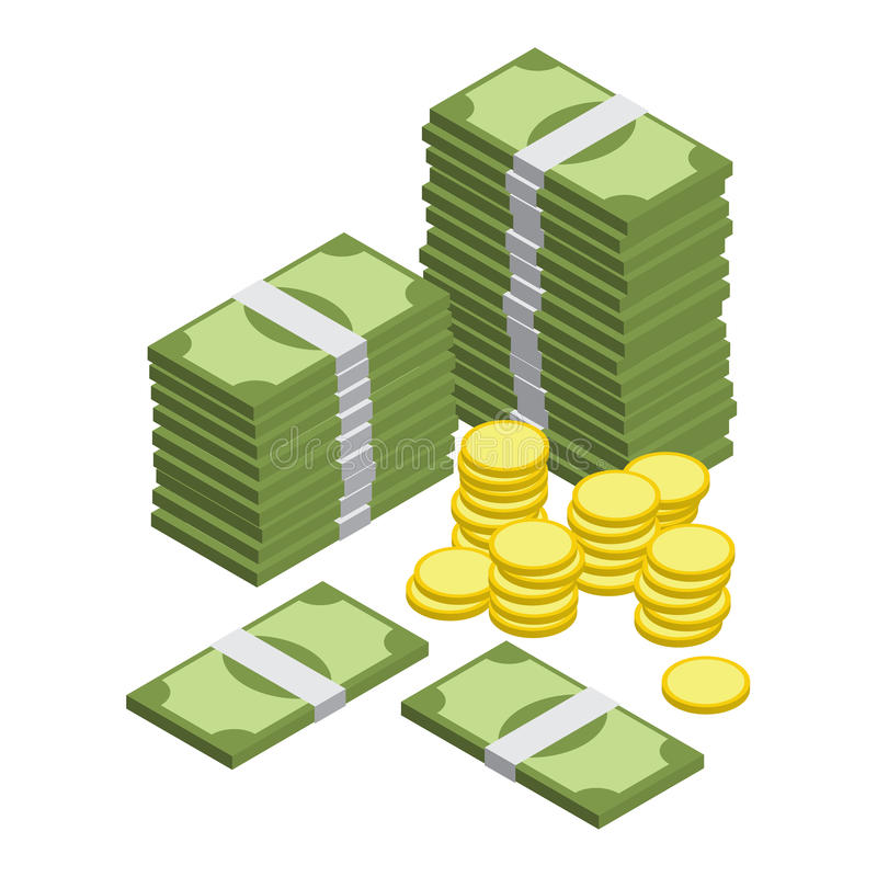 Money isometric vector. Bill and coin