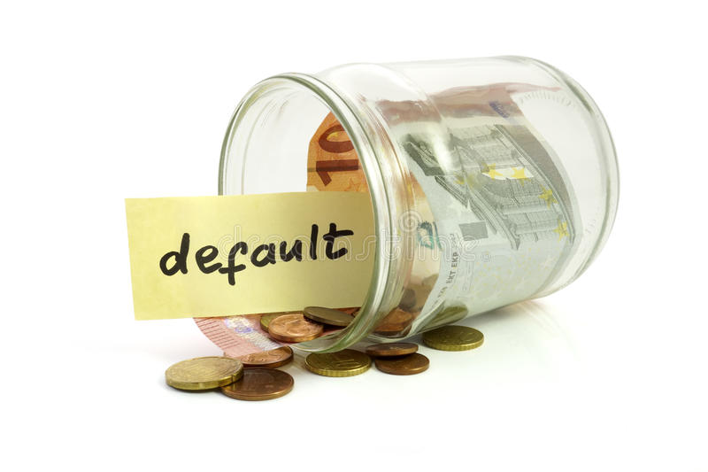 Money in the jar and paper with default. On white background royalty free stock photo
