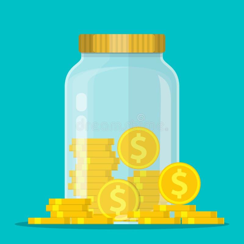 Money Jar. Saving dollar coin in jar. stock illustration