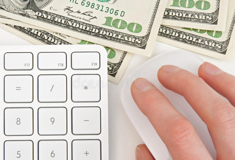 Money, Keyboard And Hand On Computer Mouse Stock Photos
