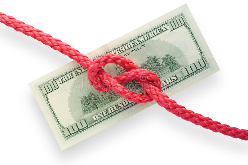 Money and knot 01. The red cord with reef knot on a banknote. Isolated on white. Conception of risk or difficulty stock photography