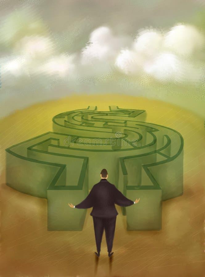 Money labyrinth. Facing money labyrinth person Economy finance and economics