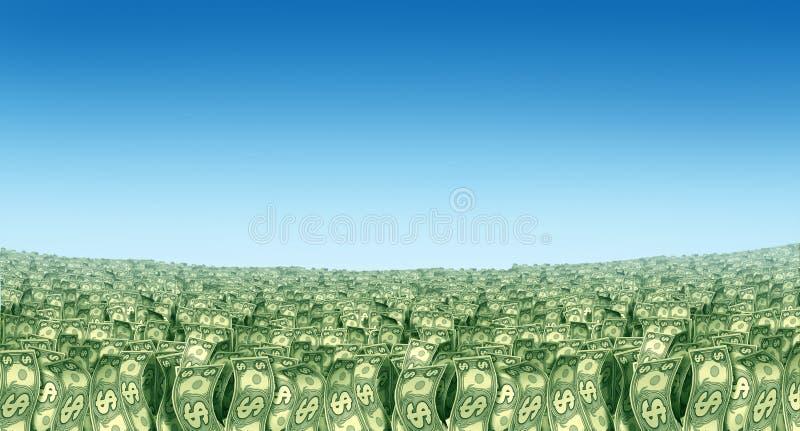 Money landscape prosperity in the horizon. Grass dollars vector illustration