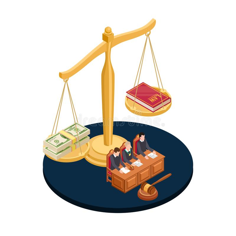 Money or law vector illustration. Corrupt practices isometric concept. Corruption or law, banknote money and book vector illustration