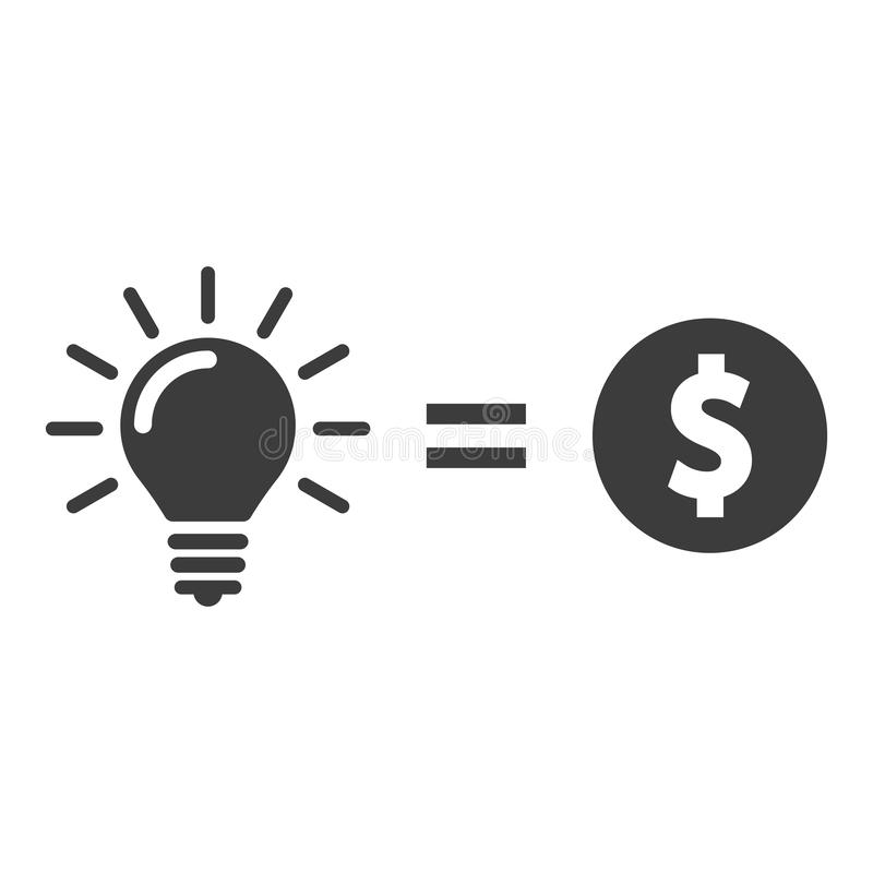 Money for lightbulb idea. Money for idea vector icon royalty free illustration