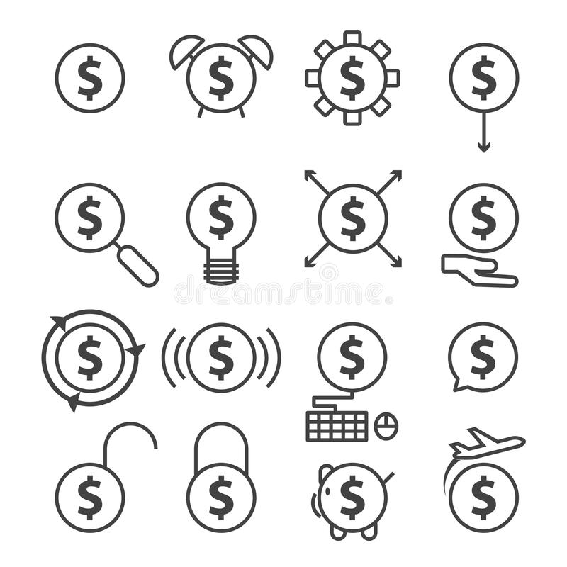 Money line icon. Black vector set