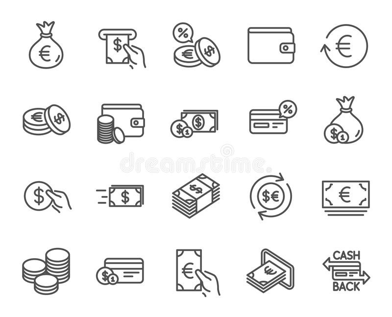 Money line icons. Credit card, Cash and Coins. royalty free illustration