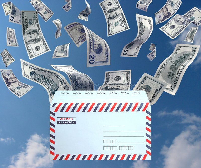 Money from the mail stock illustration