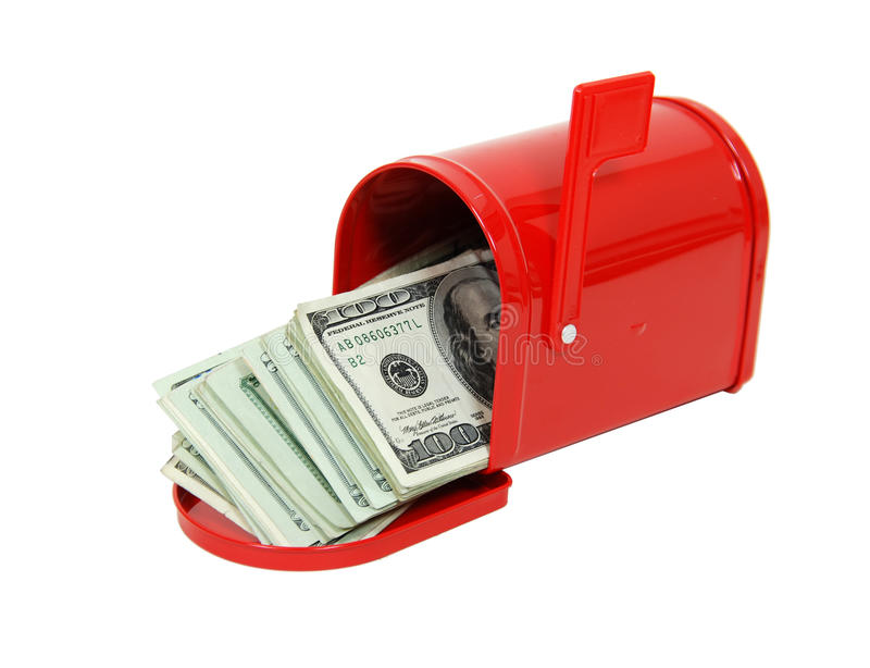 Money in the mailbox stock images