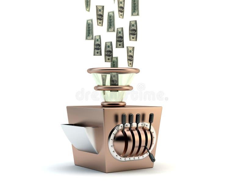 Money maker. Render of a money maker machine stock illustration