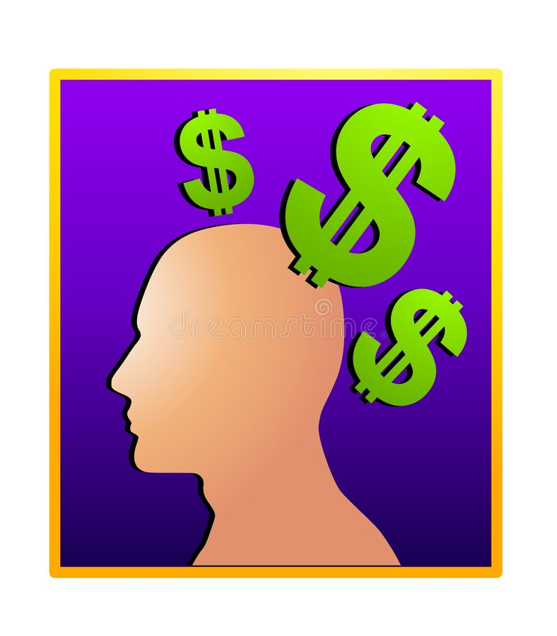Money Making Ideas Silhouette 2. An illustration featuring a silhouette in dark blue surrounded by green dollar signs to represent money making ideas stock illustration