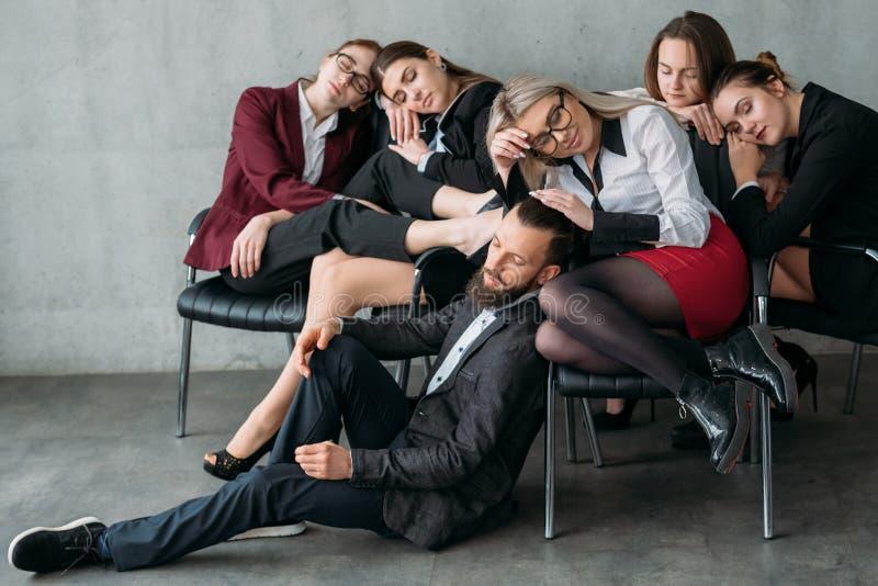 Money making workaholic overworked sleep chairs stock photo
