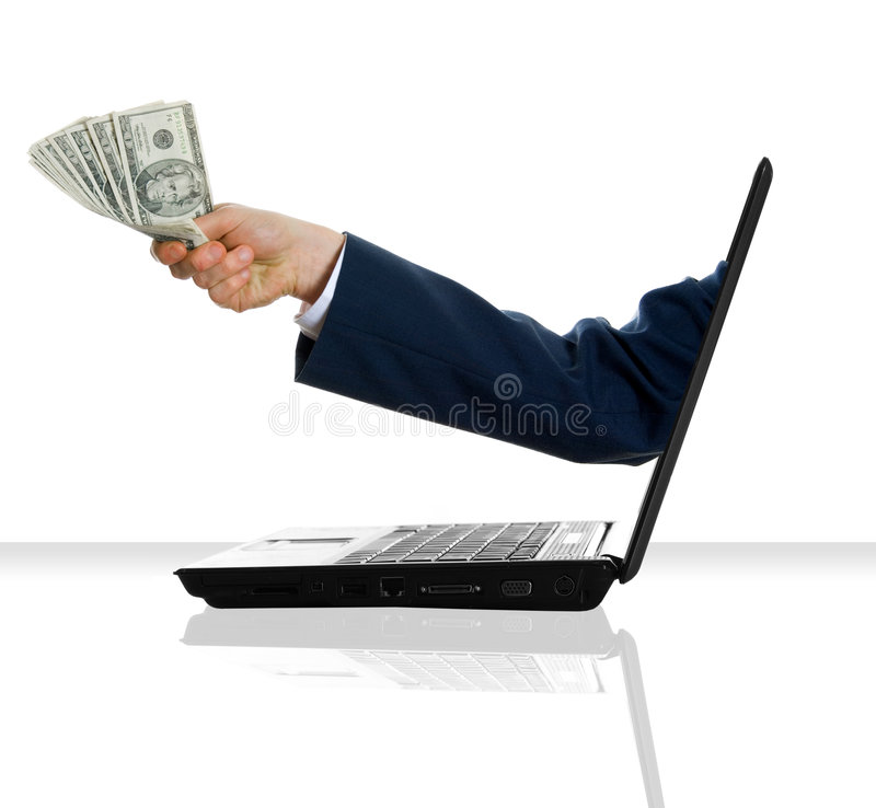 Money man. A hand giving some money from a laptop