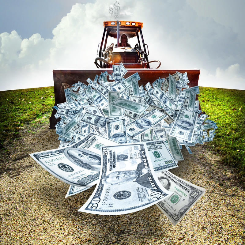 Money management. A business man runs a bulldozer pushing money down a rocky road. Dollar sign smoke billows from the exhaust
