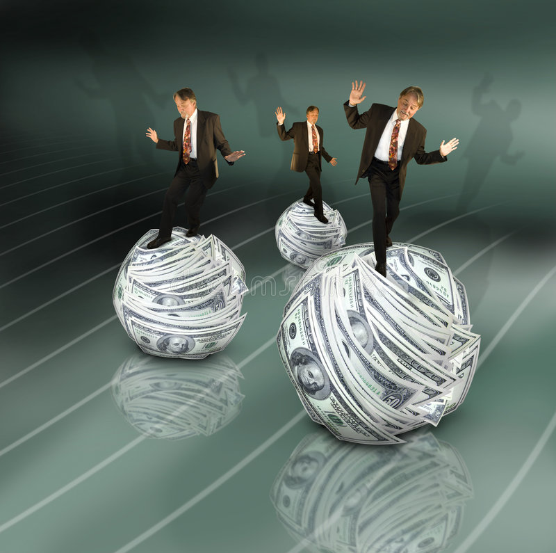 Money management. Three business men balance on money balls on a curved grid. Concept for the trickiness of managing financial accounts or finances royalty free stock photos