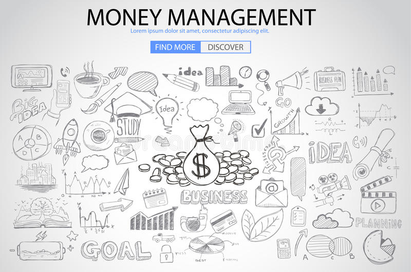 Money Management concept with Doodle design style vector illustration