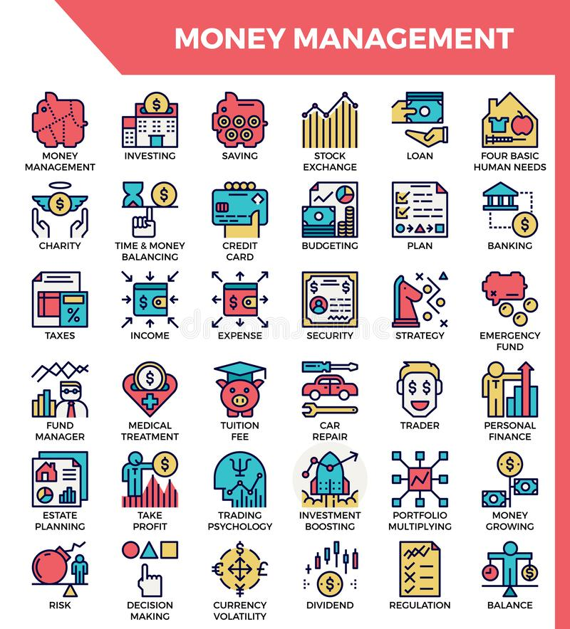 Money management icons vector illustration
