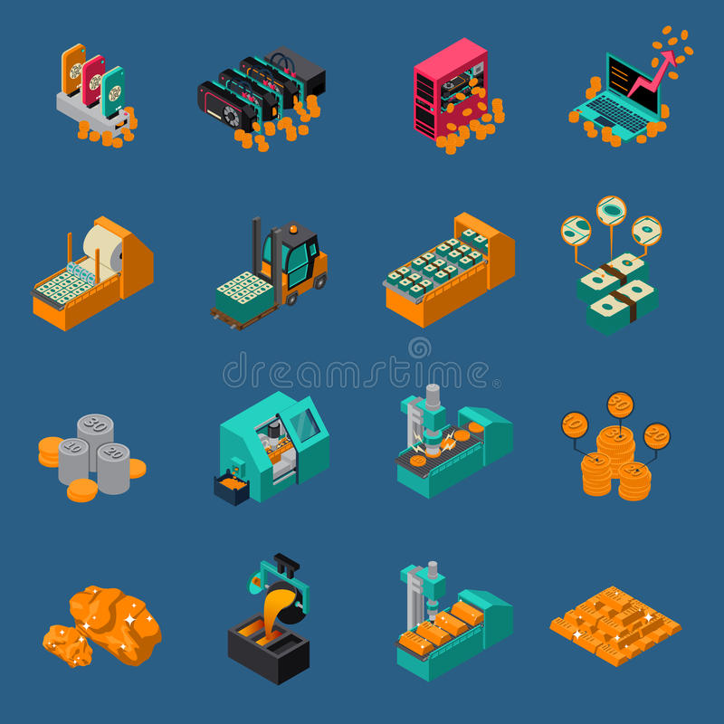 Money Manufacturing Isometric Icons vector illustration
