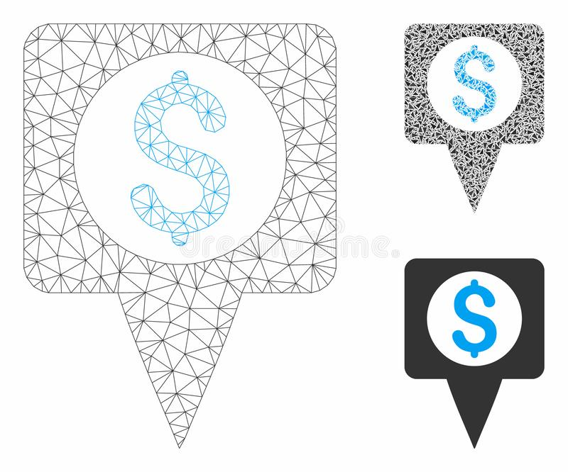Money Map Marker Vector Mesh Carcass Model and Triangle Mosaic Icon. Mesh money map marker model with triangle mosaic icon. Wire carcass triangular mesh of money vector illustration