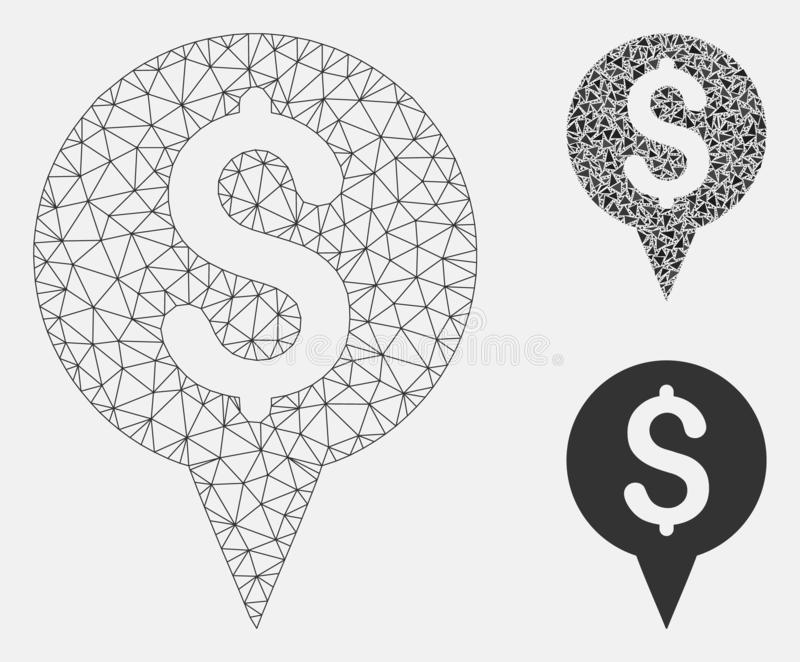 Money Map Marker Vector Mesh 2D Model and Triangle Mosaic Icon. Mesh money map marker model with triangle mosaic icon. Wire frame triangular network of money map stock illustration