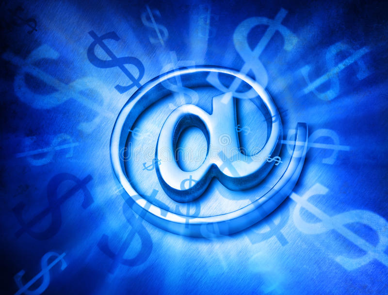 Money Marketing Computer Internet Background. A silver @ email alias symbol or at sign with an abstract money background