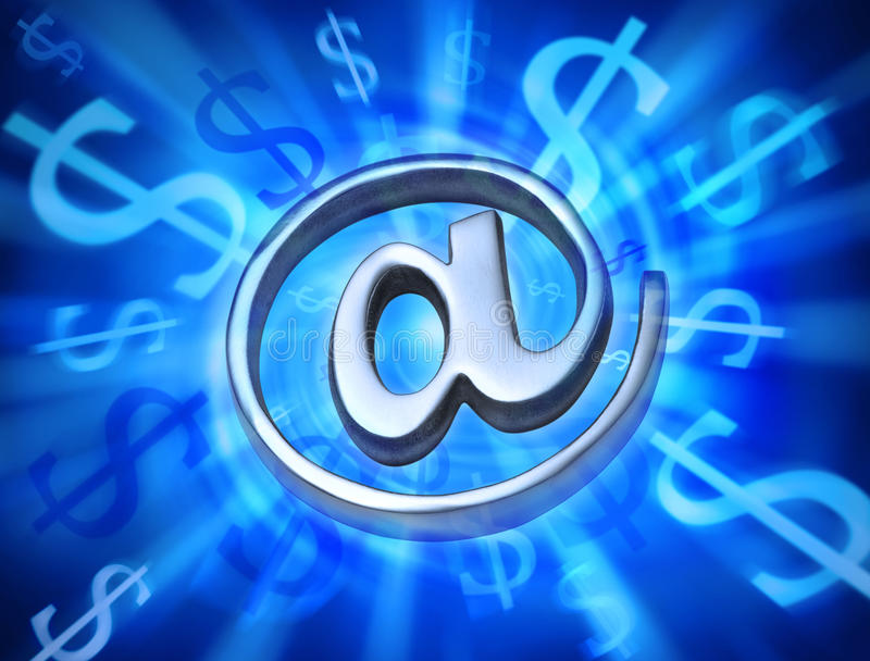 Money Marketing Internet Email Computer. A metal email @ alias symbol or at sign with an abstract money background