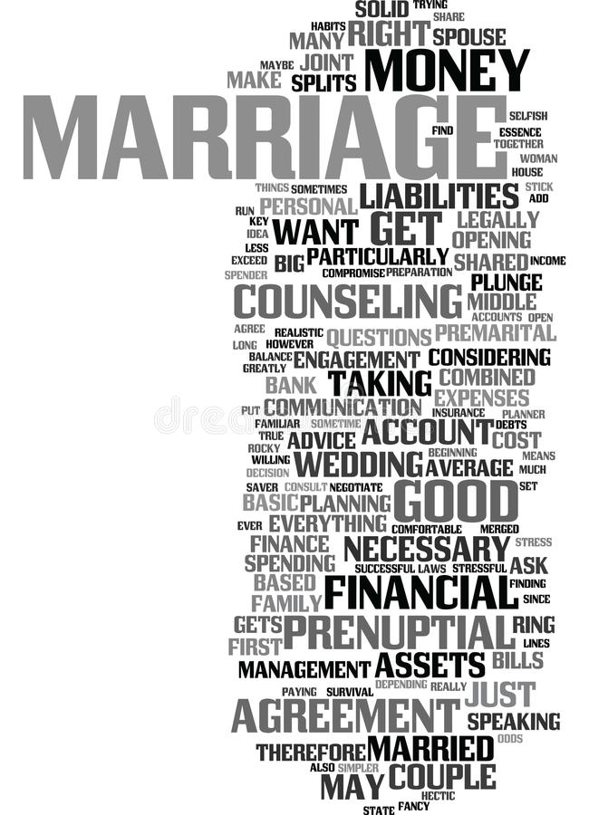 Money And Marriage Text Background Word Cloud Concept stock illustration