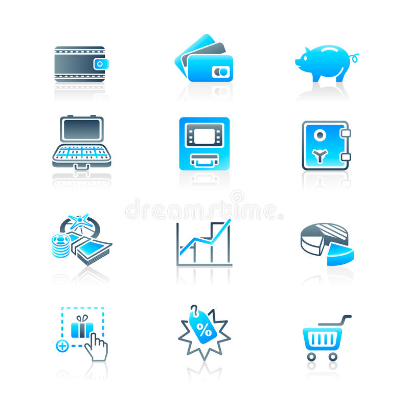 Money matters icons | MARINE series. All about earning, saving and spending money icon-set royalty free illustration