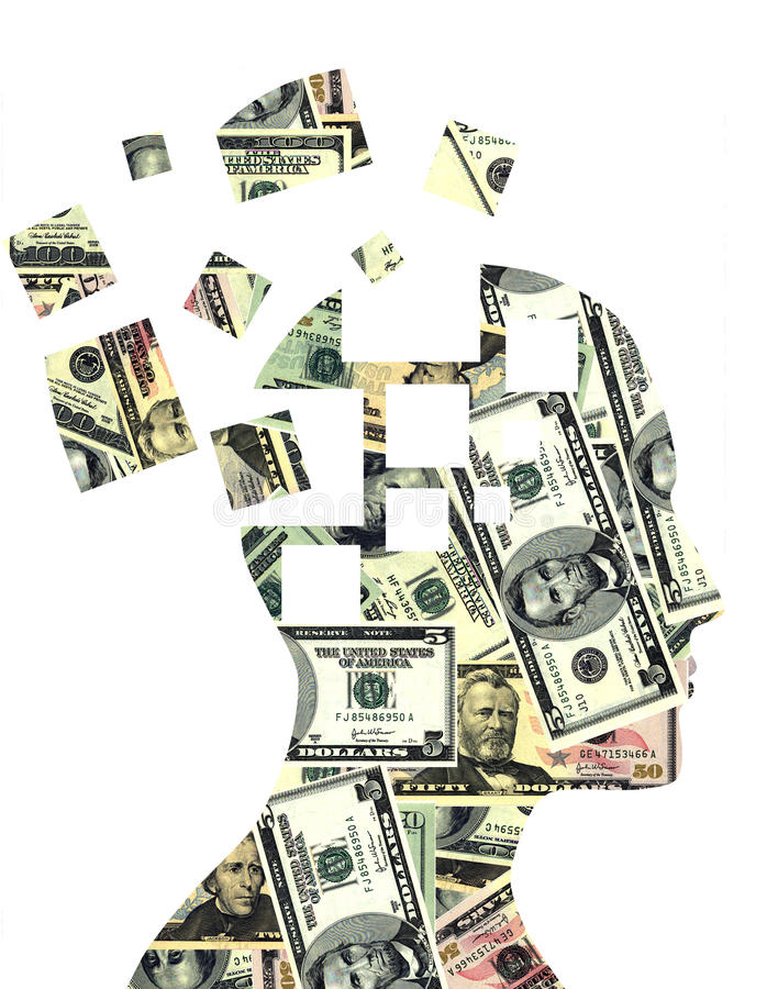 Money in mind. Puzzled human profile full of money stock illustration