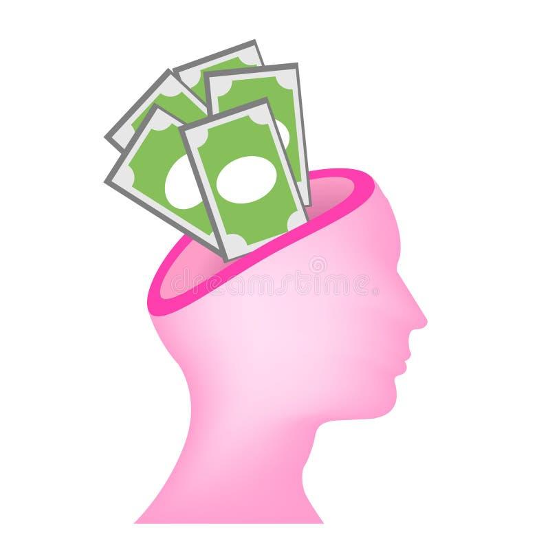 Money on mind vector royalty free illustration
