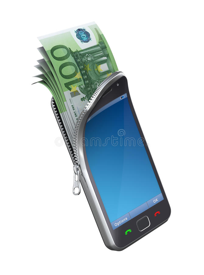 Money in the mobile phone. 3D concept with mobile phone and euro banknote