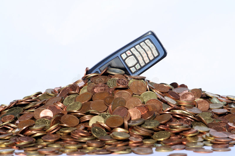 Money and mobile phone stock photography
