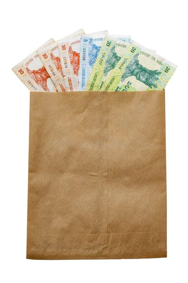 Money of Moldova in paper envelop stock image