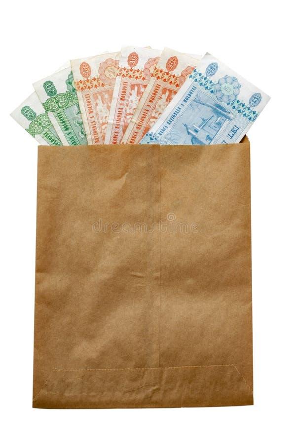 Money of Moldova in paper envelop royalty free stock photos